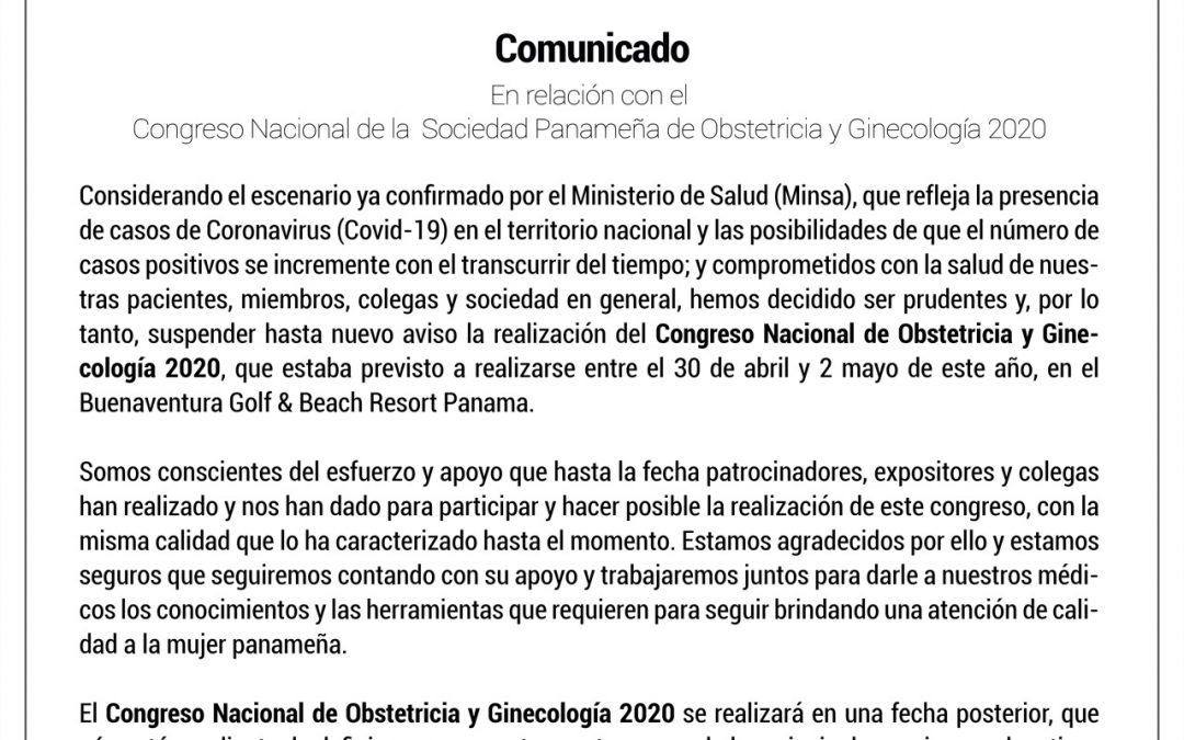 Comunicado Oficial – Congreso Nacional SPOG 2020