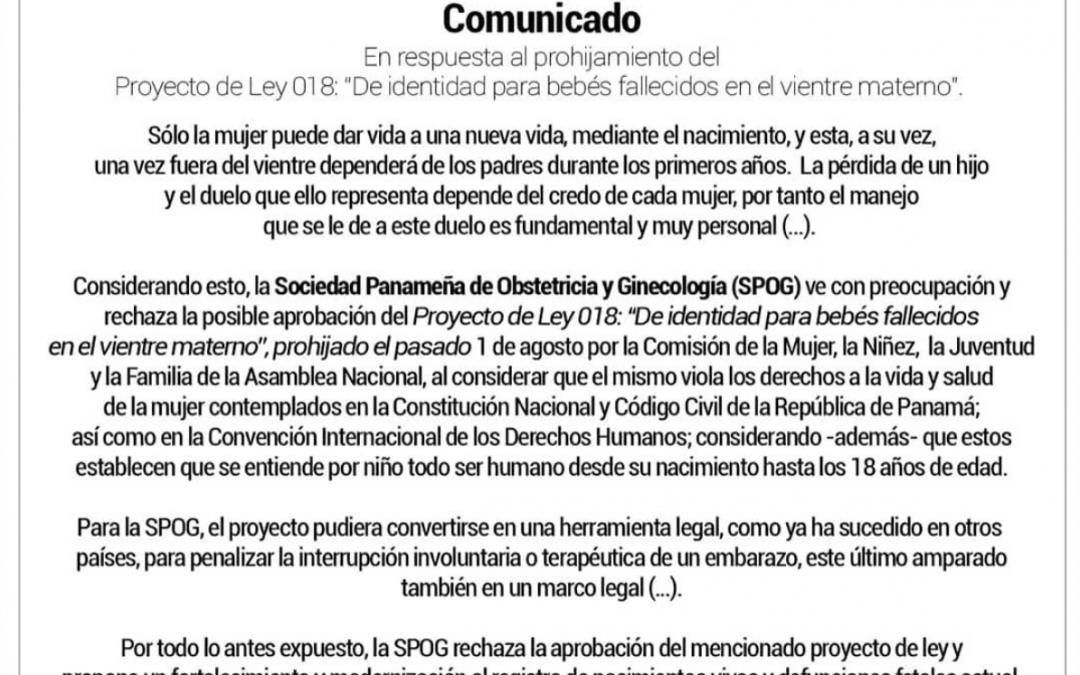 """Comunicado: En respuesta al prohijamiento del Proyecto de Ley 018: """"De identidad para bebés fallecidos en el vientre materno""""."""